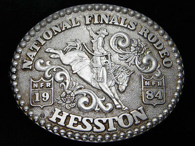 Qh03104 Used Nfr ***1984 National Finals Rodeo*** Hesston Collector Buckle
