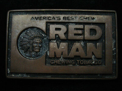 RA07105 VINTAGE 1970s **RED MAN CHEWING TOBACCO** SOLID BRASS BELT BUCKLE