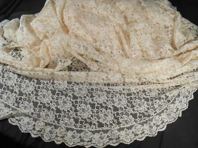 """Frilly Romantic Vintage Machine Lace 64"""" Round Tablecloth W/ruffle Edge"""
