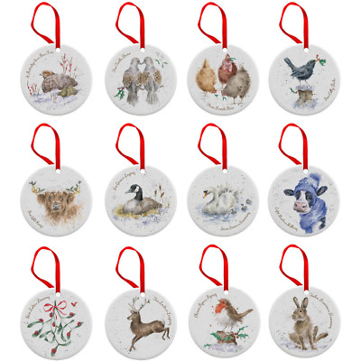 Royal Worcester Wrendale 12 Days of Christmas Fine Bone China Tree Decorations