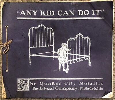 Antique c1900 Quaker City Bedstead Co. Illustrated Brass & Iron Bed Catalog
