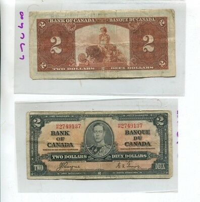 Canada 1937 $2 Currency Note Vg 8267L