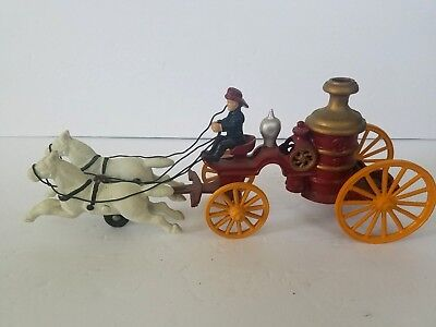 Fireman Cast Iron Toy Horse Drawn Fire Engine Carriage Wagon Vintage