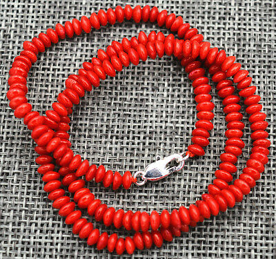 """New 2x4mm Natural red coral Abacus Gems Necklace 18"""" Silver clasp"""