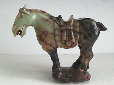 """Vintage Polished Carved CHINESE Stone TANG HORSE Sculpture Figurines 7"""" Tall"""