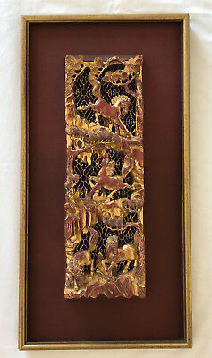Antique Chinese Horses Gilt Wood Carving Relief Wooden Architectural Remnant
