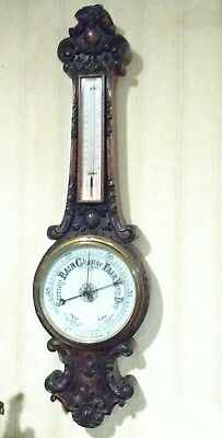 Antique Victorian Era English Dark Oak hand carved Aneroid Banjo Wall Barometer