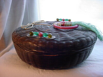 Antique Victorian Chinese Sewing Basket with Glass Loop and Coins 10 inch Intact