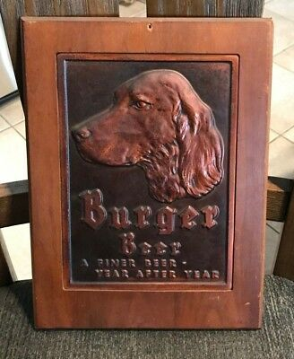 Vintage Burger Beer Brewing Hammered Copper Hunting Dog Sign Cincinnati Oh