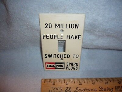 VINTAGE CHAMPION SPARK PLUG LIGHT SWITCH COVER  free shipping