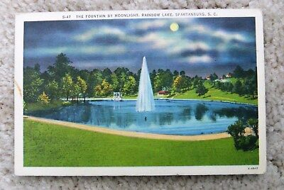 Vintage The Fountain By Moonlight Rainbow Lake Spartanburg Sc Postcard Linen