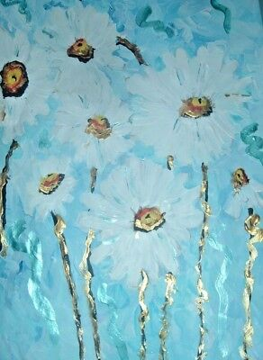 white daisies original painting art By Artist PB Impressionist abstract floral