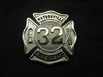 Vintage Watsonville Ca. Fire Department Obsolete Cap Badge