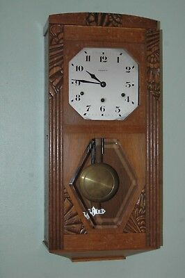 Antique Carved Solid Oak Vedette French Wall Clock With Key.