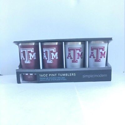 4 Simple Modern 16 Oz Pint Tumblers Texas A&M Double Walled Stainless Steel