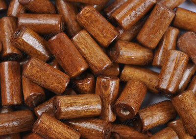 FREE SHIP 50PCS Brown Bright Color Wooden tubular Wood Beads 12X6MM