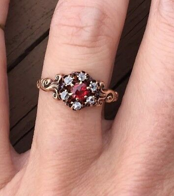 Antique Vintage Old Mine Cut Diamond Rose Cut Ruby Victorian Ring Rose Gold NR