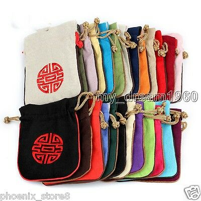 Wholesale10pcs Chinese Vintage Embroiderd Flax Jewelry Pouch Coin Purse Gift Bag