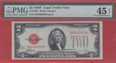 $2 1928F Red Seal US Note- PMG CHOICE XF 45 EPQ!