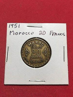 1951 Morocco 20 Francs U.S. Quarter Size Copper Coin Real Nice Condition