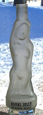 """Nude Woman Miss Naval Jelly Figural Bottle Hand Blown Limited Edition 11.25"""""""