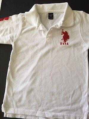 US Polo Assn Boys USPA USA Shirt Kids Size 5-6 White With Red Logo