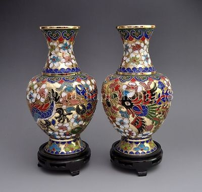 A PAIR OF DELICATE CHINESE CLOISONNE BEAUTIFUL VASE -- FLOWER f02