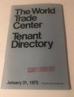 Vintage The World Trade Center New York City Tenant Directory 1/31/75