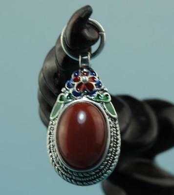 Collect Chinese hand-made silver inlay jade Cloisonne Flower pendant 02