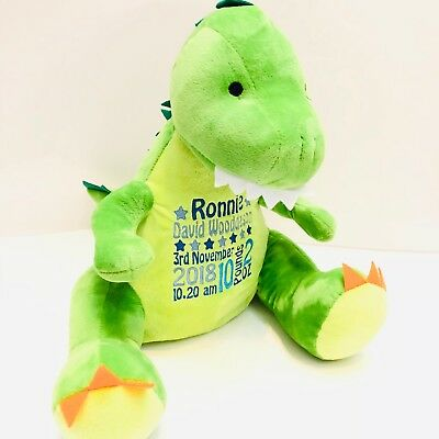 Dinosaur Personalised Embroidered Mumbles Teddy Bear Soft Toy Birth Christening