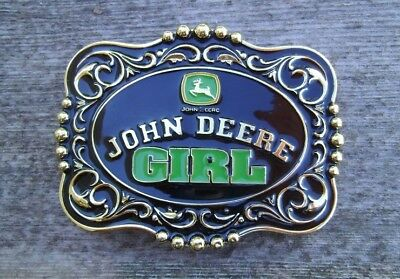 "John Deere ""Girl"" Tractor Belt Buckle Gold / Black / Green NEW"