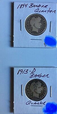 (2) Barber Silver Quarters 1894P, & 1913D VG To Fine Condition