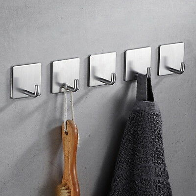 Self-Adhesive Towel Hooks Bathroom Shower Kitchen Home Wall Clothes Hangers US