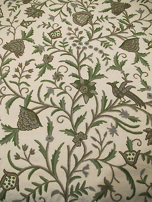 "1.5 yards Decorator Crewel Fabric India 51"" wide greens & browns on off-white"