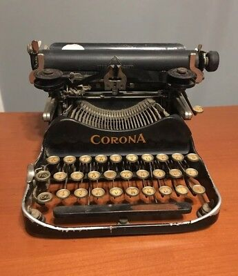 AS IS Antique Corona Manual Portable Folding Typewriter Circa 1919 Early Model 3