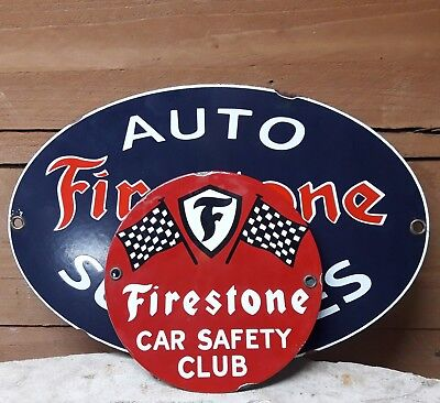 2 Vintage Firestone Tires Auto Supplies Gas Porcelain Oil Advertising Signs