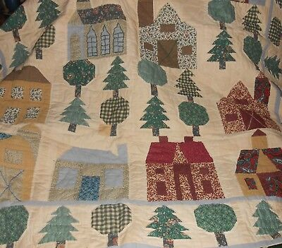 Tapestry Wall Art or Throw Folk Art Farm House Church Tree Appliques Vtg 62 x 52