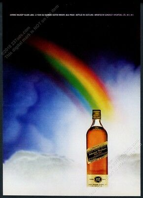 1972 rainbow art Johnnie Walker Black Label Scotch Whisky vintage print ad