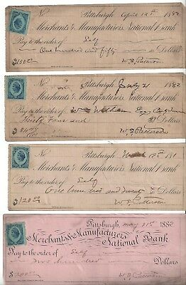 1882 Pittsburgh, PA Merchants & Manufacturers National Bank Checks Revenue Stamp