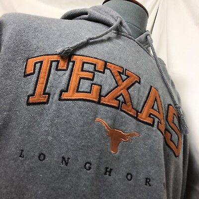Men's Texas Long Horns Gray Ripped Neck Hoodie Size XL Monogrammed Stitched Logo