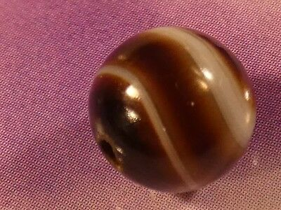 ANTIQUE SULEMANI TYPE BANDED AGATE EYE BEAD 8.3 MM pumtekman