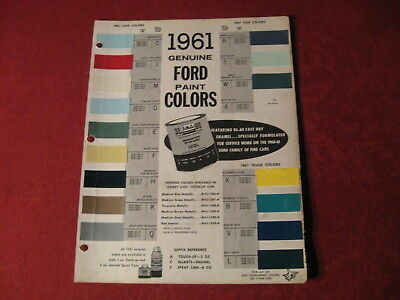 1961 Ford & Thunderbird  Paint Chips booklet Sales Brochure Old Original