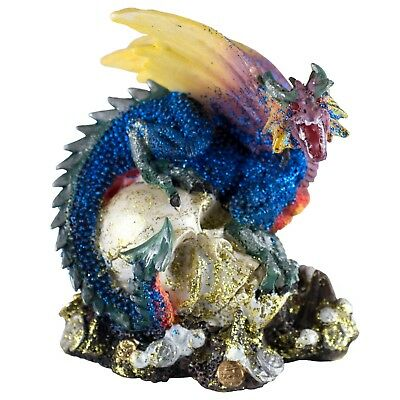 "Mini Blue Glittery Dragon On Skull With Coins Figurine 3.25"" High New!"