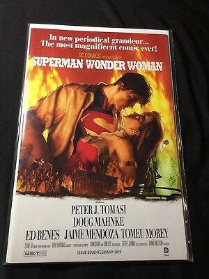 DC SUPERMAN WONDER WOMAN #17 NM Gone With The Wind Movie Poster Kiss Cover