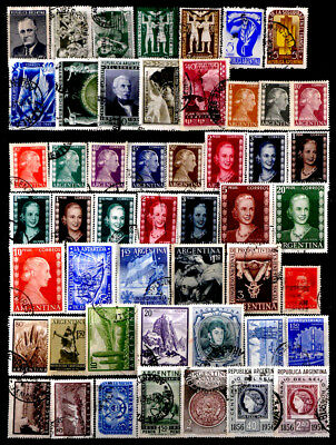 Argentina: 1940's To 50's Stamp Collection 50 Different