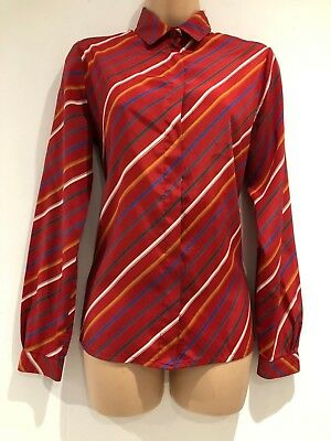 Vintage 1970's Retro Red Blue White Sand Stripe Print Long Sleeve Shirt Size 12