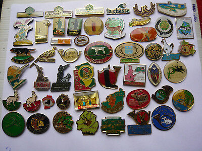 lot 50 pin s CHASSE GIBIERS different lire detail
