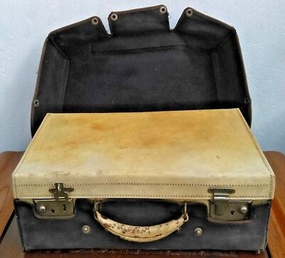 Antique Leather Suitcase with original protection cover, makers John Pound