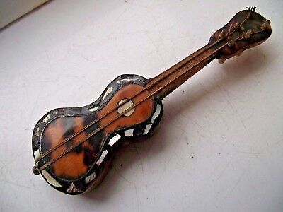 ANTIQUE 19th C MINIATURE GUITAR TREEN CARVED MOTHER OF PEARL INLAY GREAT COLOUR