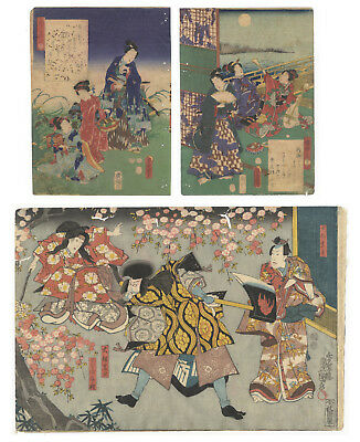 Original Japanese Woodblock Print, Ukiyo-e, Set of 3, Genji, Theatre, Flower